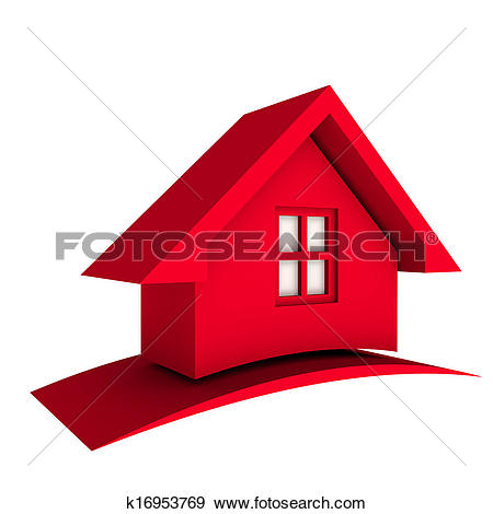 Clipart of Red Roof House with Swoosh k17171021.