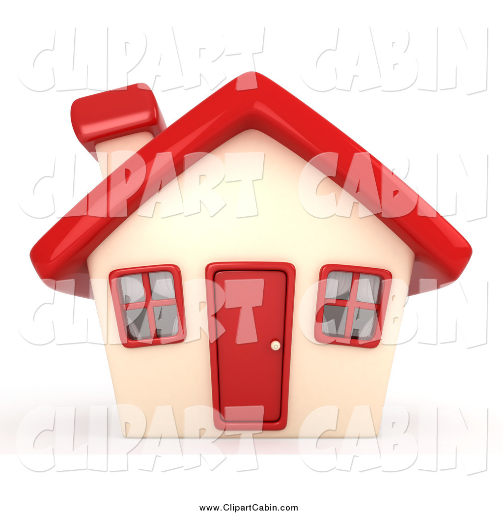 Clip Art of a 3d House with a Red Roof by BNP Design Studio.