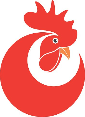 Red rooster. Symbol of New Year 2017 Clipart Image.