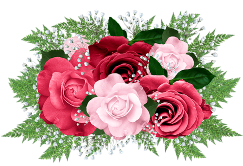 Pink and Red Rose Bouquet Clipart.