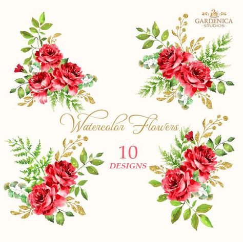 Red Roses Watercolor Clipart, Red Flower Clipart, Roses.