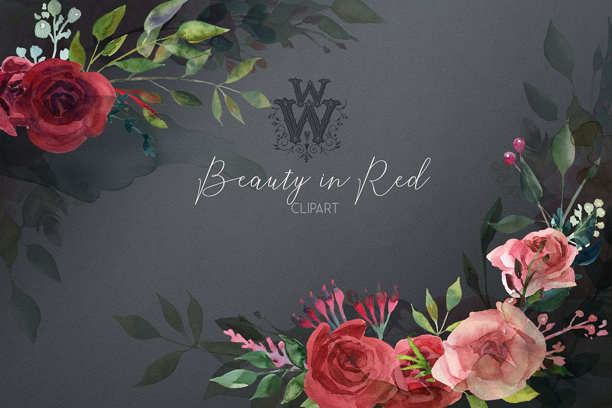Watercolor red rose flowers wedding clipart, boho pink peony.