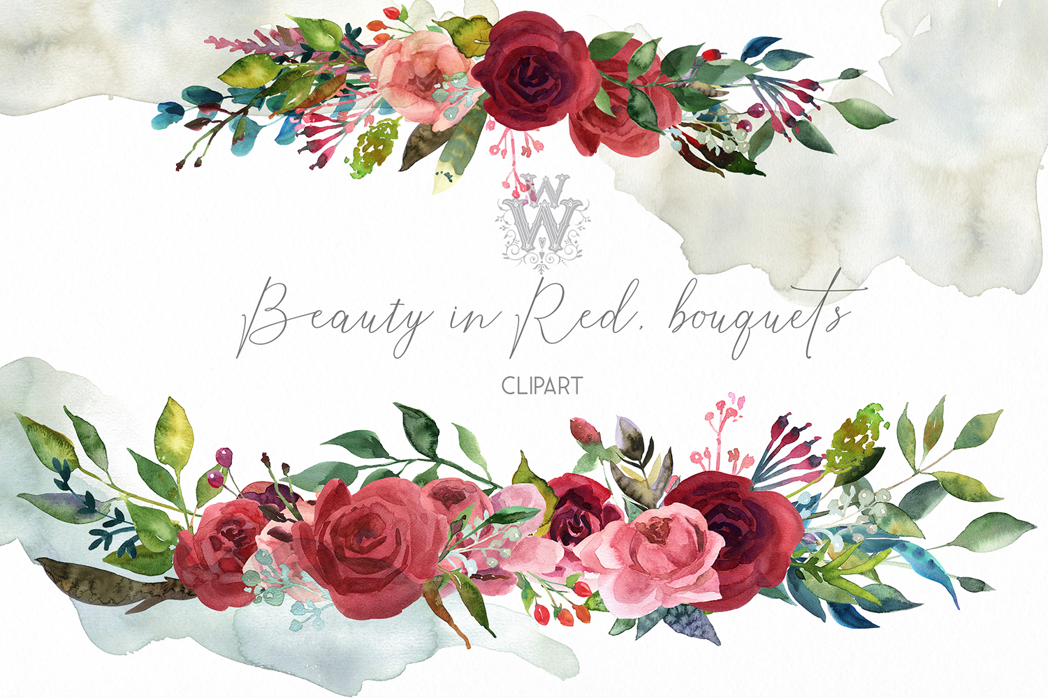 Watercolor bouquets with red roses, boho wreath wedding png.