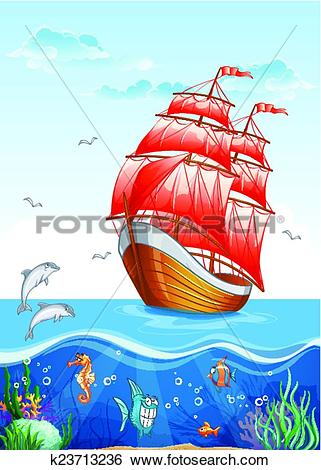 Clip Art of Children's illustration of a sailboat with red sails.