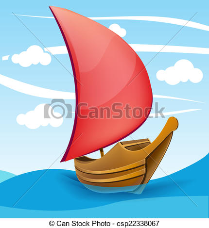 Clip Art Vector of Romantic boat with red sail on a cloudy.