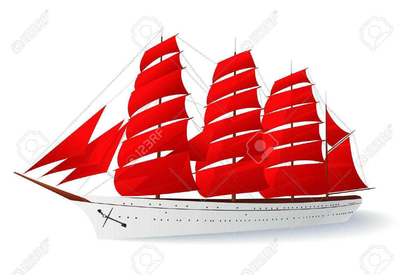 Ship With Red Sails (caravel). Vector Illustration On White.
