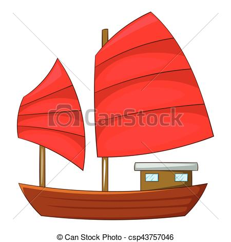 EPS Vector of Junk boat with red sails icon, cartoon style.