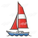 A Beka Book :: Clip Art :: Sailboat—with red sail.