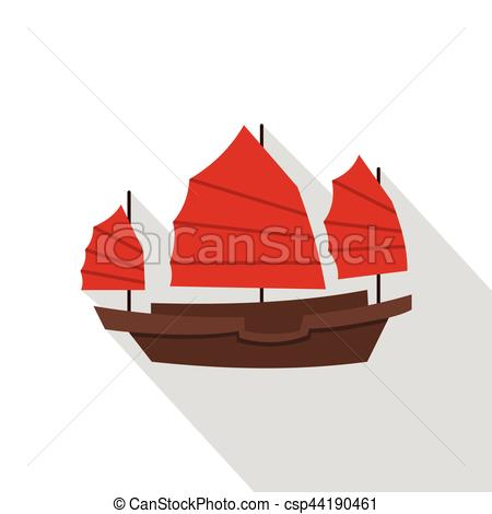 Clip Art Vector of Chinese boat with red sails icon, flat style.
