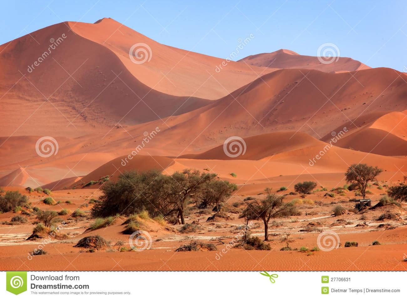 Red Sand Dune, Sossusvlei, Namibia Stock Image.