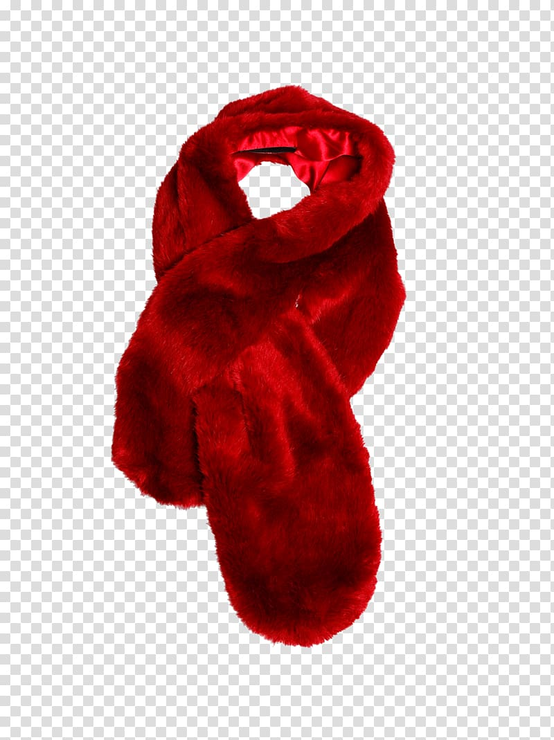Red scarf Fur clothing Shawl Headscarf, fur transparent.