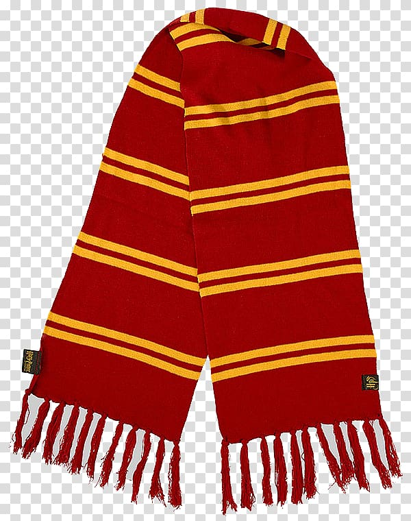 Red and yellow Hermoine Granger\'s striped scarf with fringes.