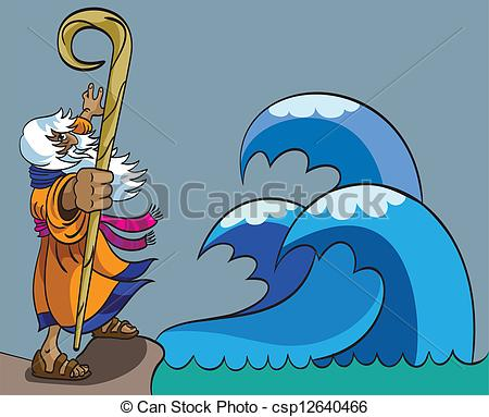 Clip Art Vector of Moses and Red Sea.