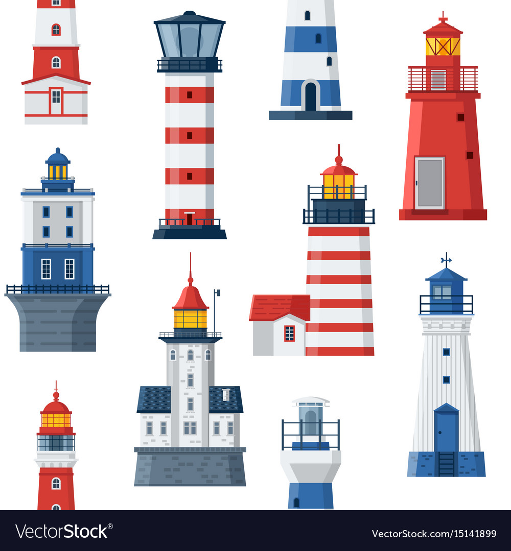 Flat lighthouses and sea guide lights.