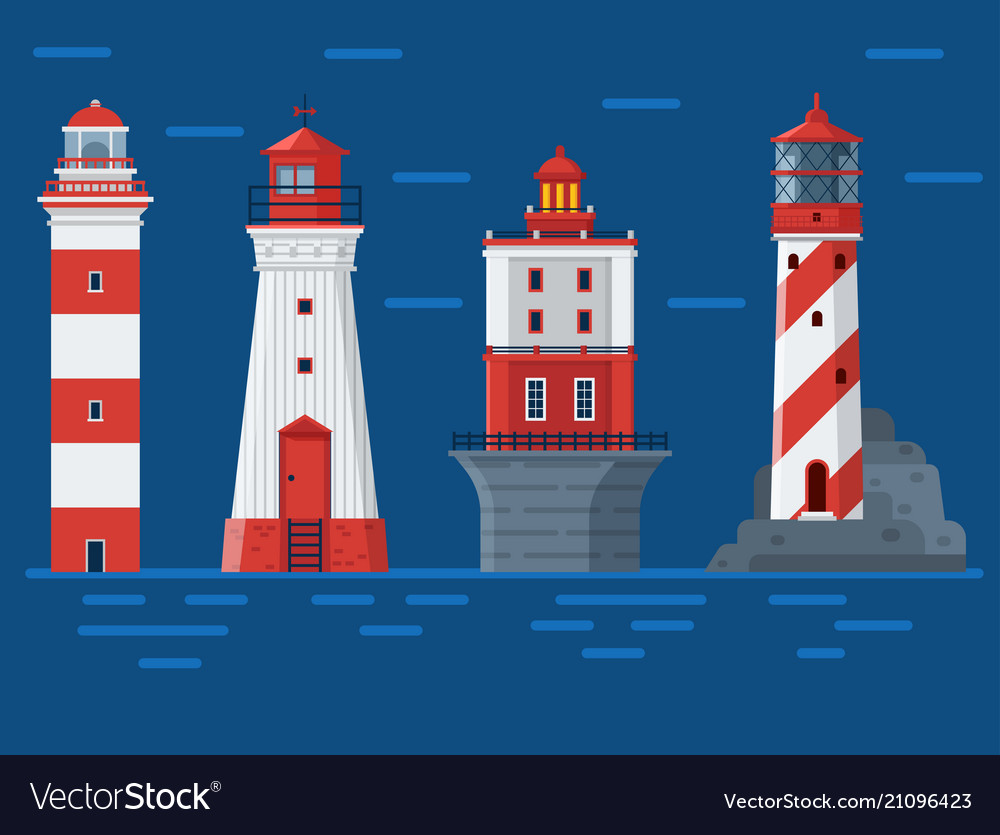 Red lighthouses on sea background.