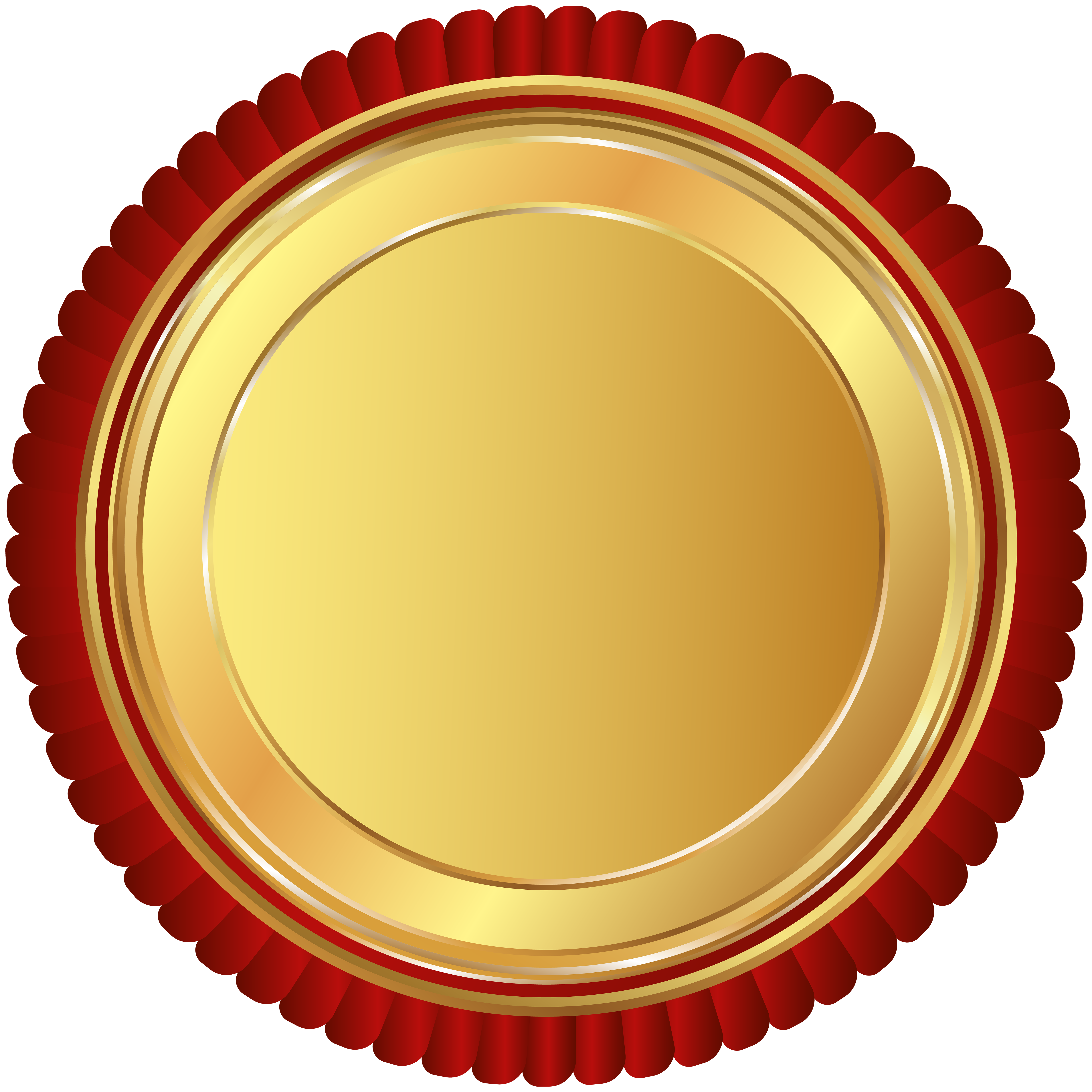 Gold Red Seal Badge PNG Clip Art Image.