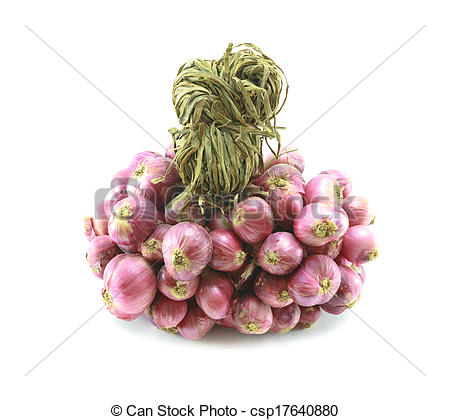 Pictures of Thai red onion, Thai red shallot on white background.