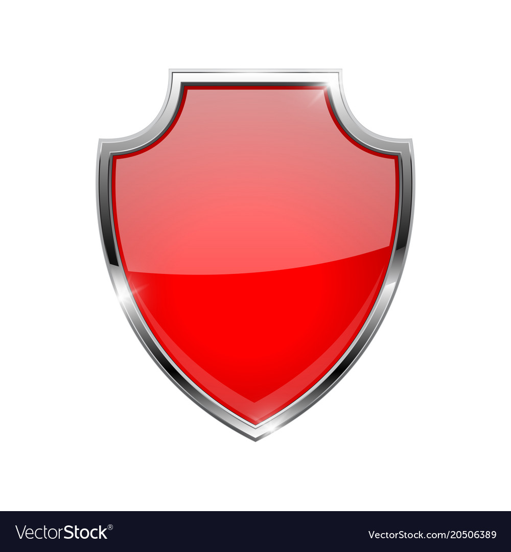 Metal 3d red shield.