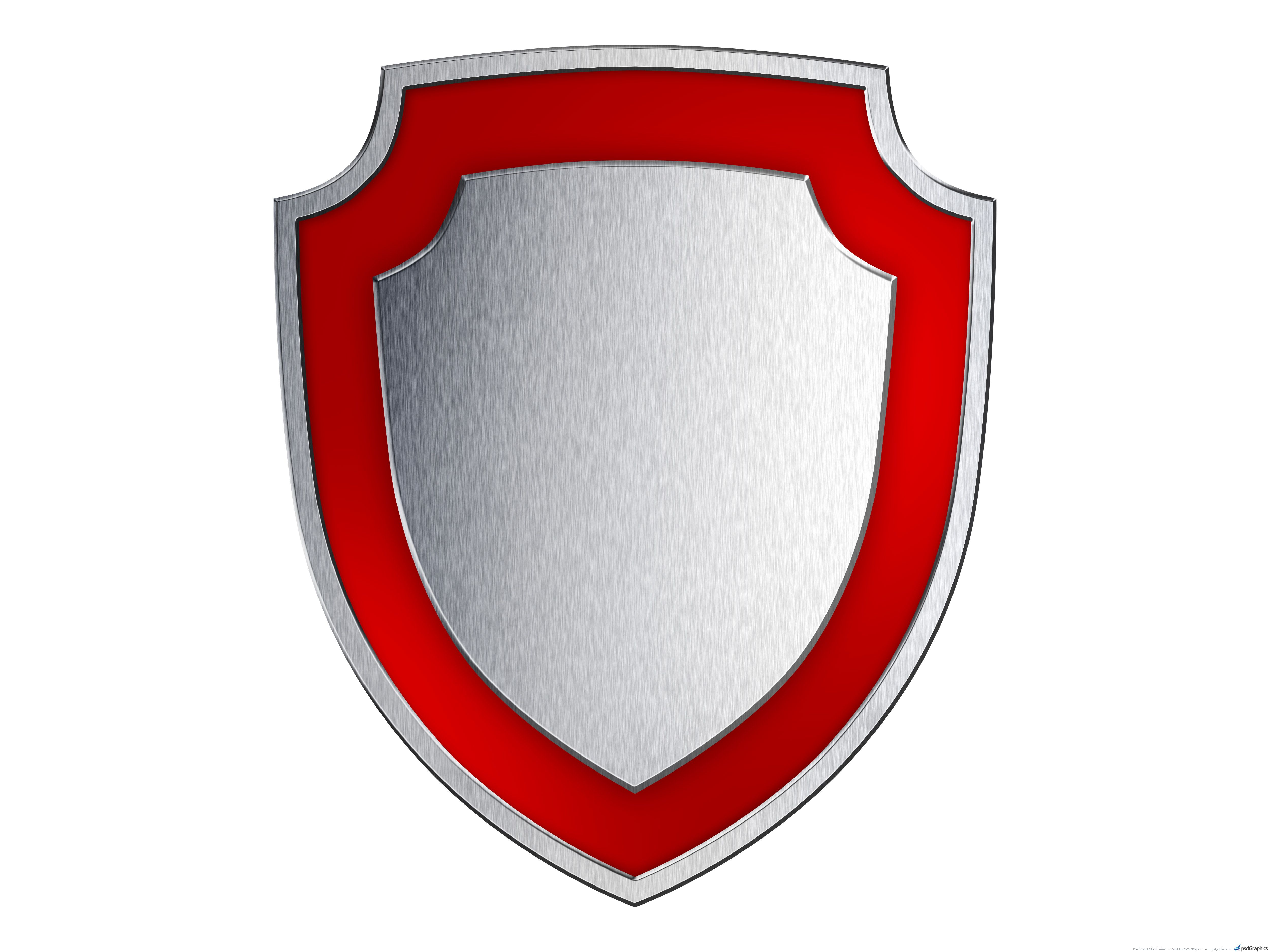 Silver and Red Shield Logo.