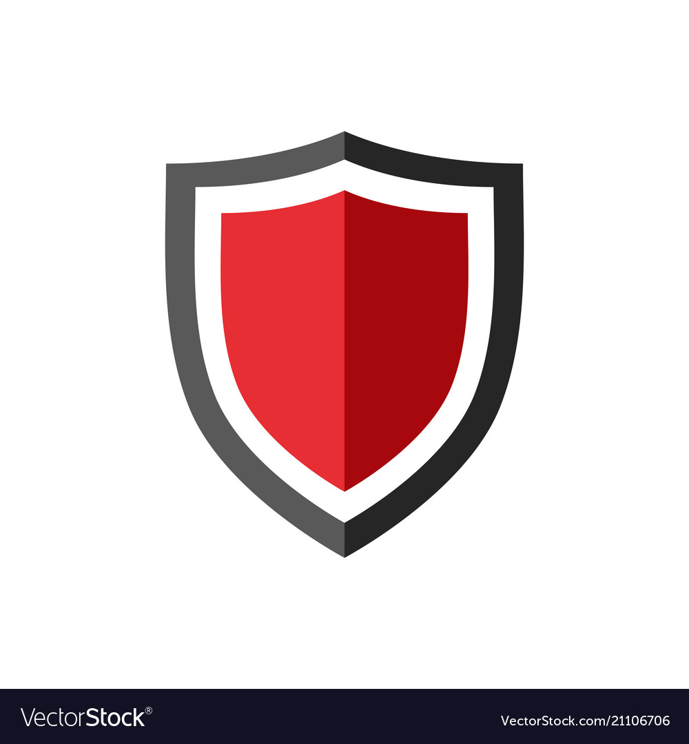 Protection shield icon with red center.