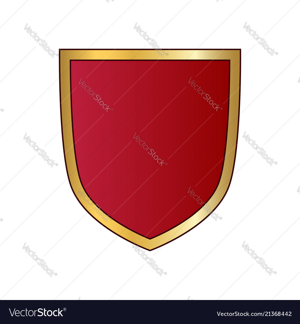 Gold and red shield shape icon logo emblem.