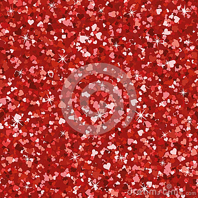 Seamless Bright Red Glitter Texture Shimmer Hearts Love Background.