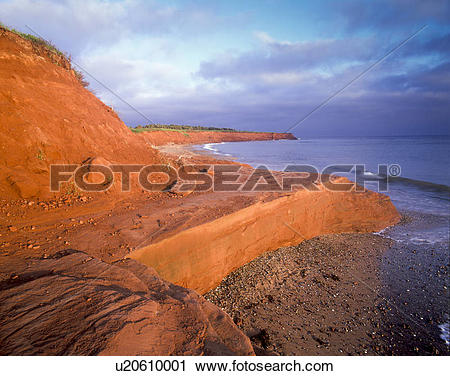 Stock Photography of Red shoreline at Orby Head, Prince Edward.