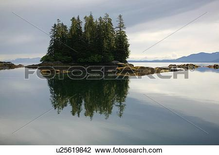 Stock Photo of View of the shoreline at Red Bluff Bay on Baranof.