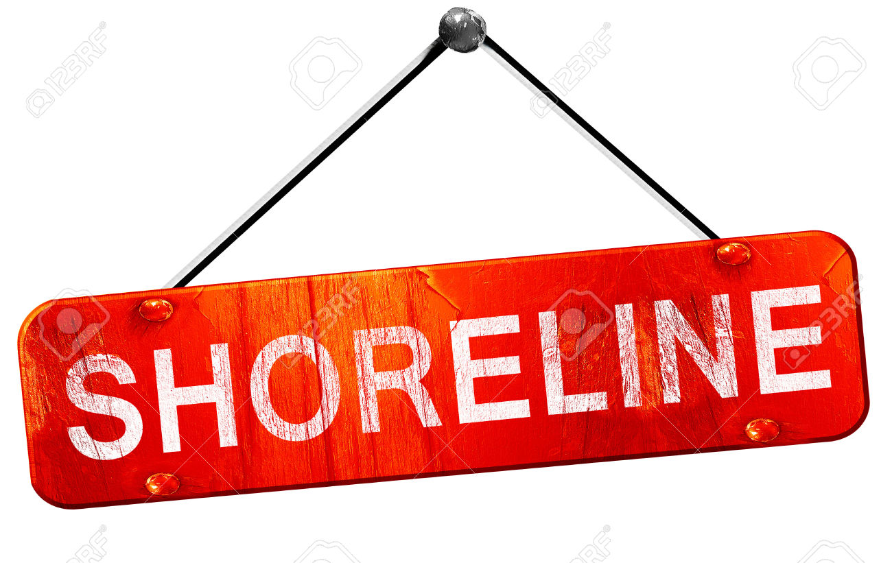 Shoreline, 3D Rendering, A Red Hanging Sign Stock Photo, Picture.