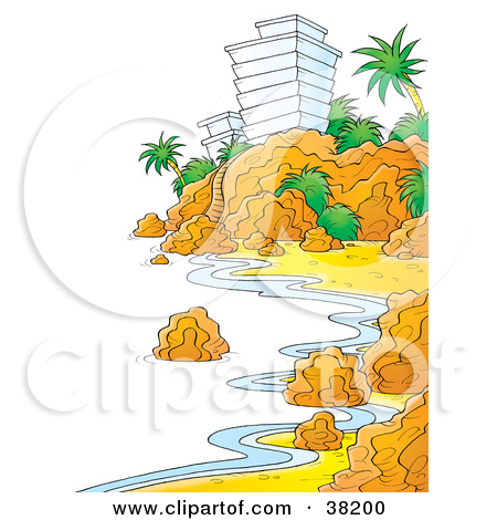 Clipart Illustration of a Shoreline Along A Rocky Coast With A.