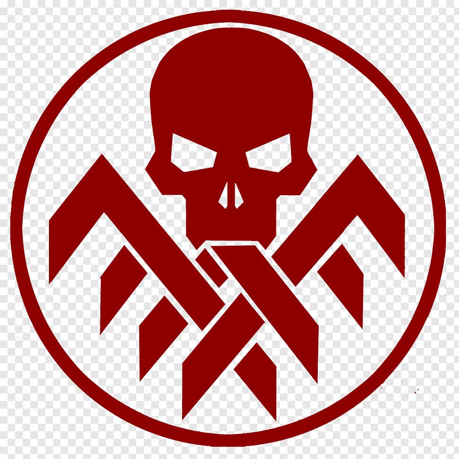 Red human skull logo, Red Skull Captain America Hydra Logo.