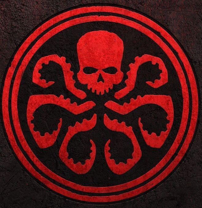 Nice big Hydra Logo behind Red Skull punching dummy.