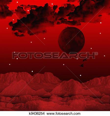 Drawings of Magical red sky k9436254.