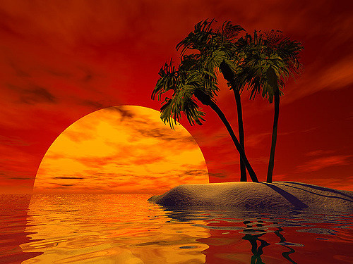 Red Sky Island Clipart.
