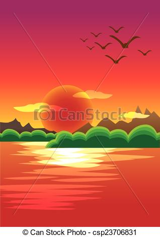 Vectors of Beautiful Sunset with Red Sky Background and Water.