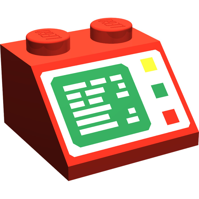 LEGO Red Slope 45° 2 x 2 with Computer Screen.