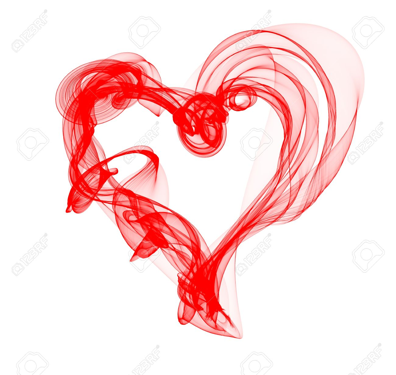 Red Smoke Heart Illustration Stock Photo, Picture And Royalty Free.