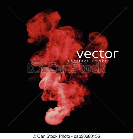 Clipart Vector of Vector illustration of red smoke on black. Use.