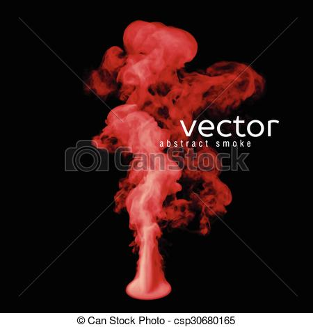 Clip Art Vector of Vector illustration of red smoke on black. Use.