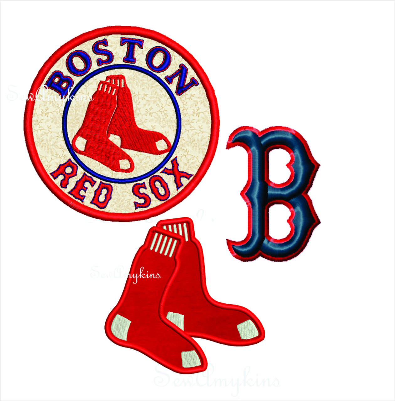Boston Red Sox baseball ball applique & satin stitch socks machine  embroidery designs logo 6 files.