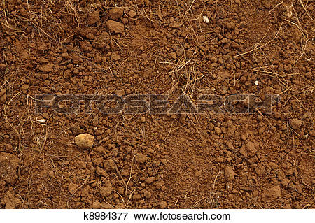 Picture of Red soil, with stones. k8984377.