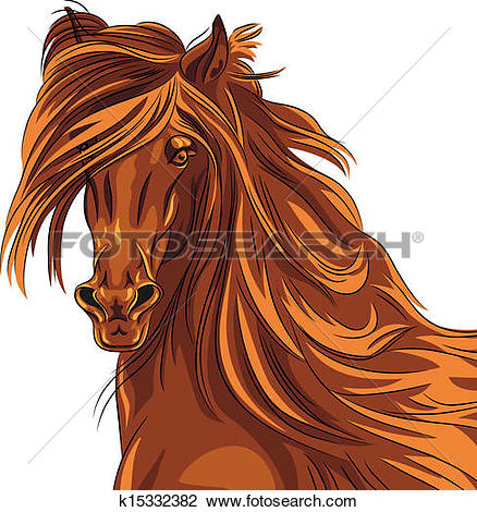 Clipart of Vector closeup portrait of red horse k15332382.
