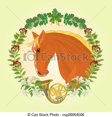 Vector Clipart of The head red Horse leaves and french horn.