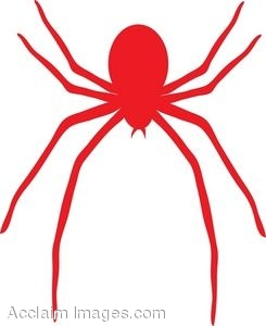Clip Art Picture of a Red Spider.