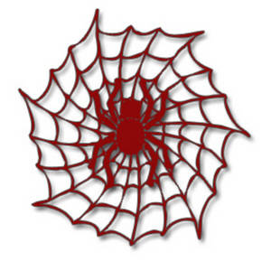 Halloween Clipart Picture of a Red Spider in a Web.