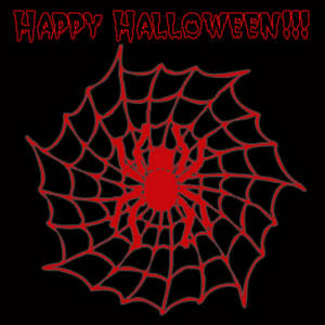 Halloween Clipart Picture of a Spider in a Web.
