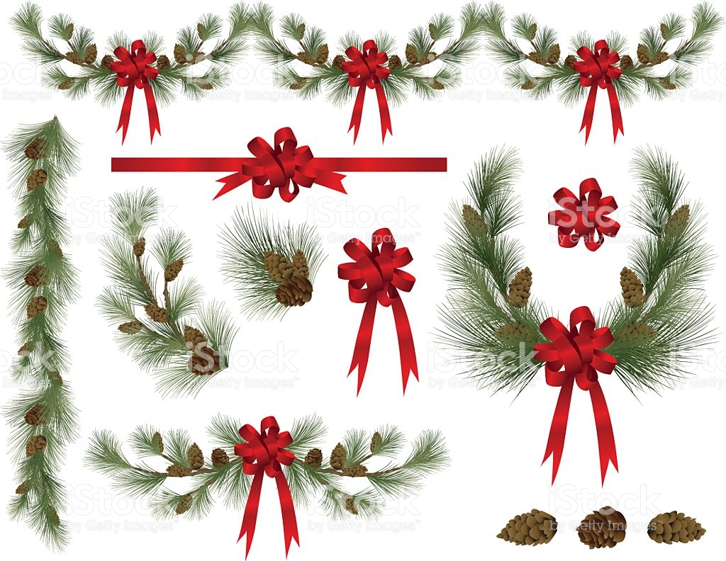Holiday Pine And Spruce Elements Clipart With Red Bows stock.