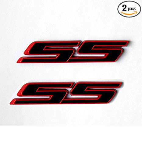 Yoaoo 2x OEM Ss Emblem Badges 3D Logo for Camaro Series Red Frame Ss Red  Line.