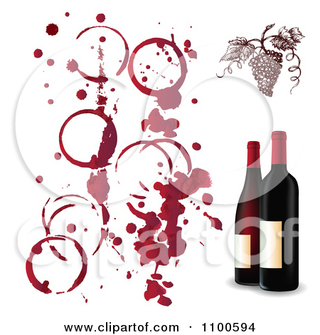 Clipart Red Grapes With Wine Stains And 3d Bottles.