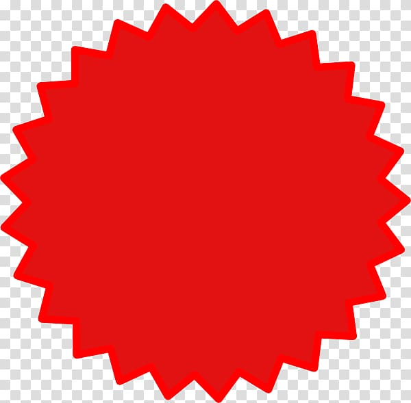 Scalloped red , Starburst , red star transparent background.
